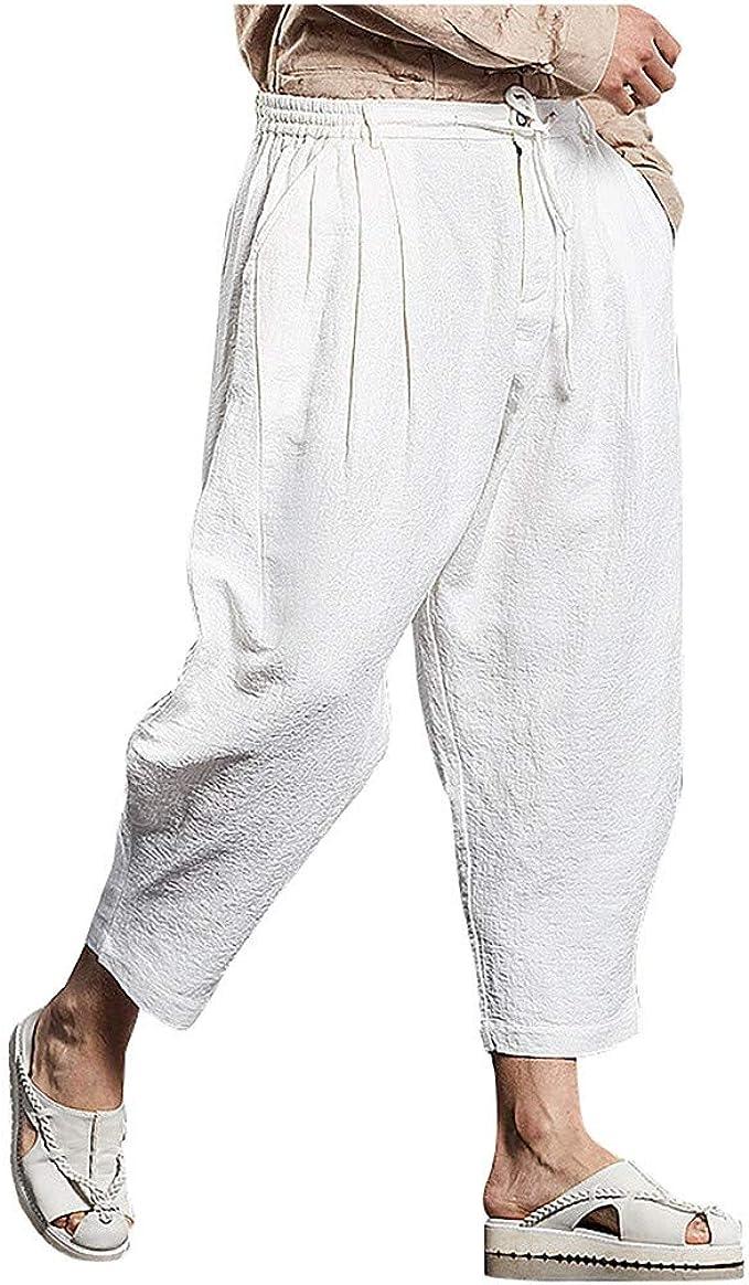 cliente Campionato intellettuale  FRAUIT Pantaloni Lino Uomo Larghi Pantaloni Uomini Estivi Leggeri Corti  Pantalone Ragazzo Estivo con Elastico Pantaloni Tuta Cotone Leggero  Pantaloni da Lavoro Estate Lunghi Spiaggia: Amazon.it: Abbigliamento