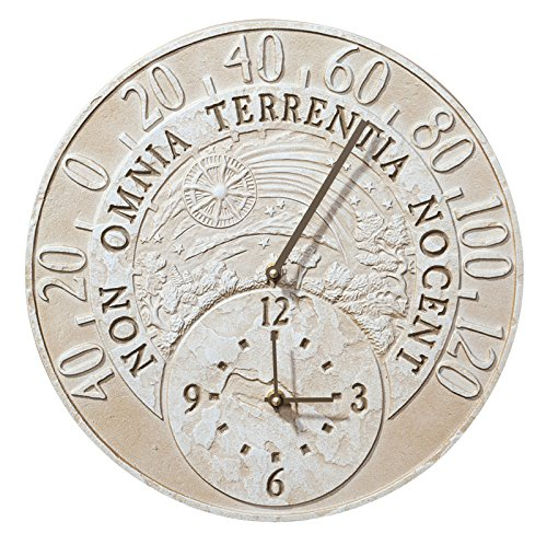 Whitehall Products Fossil Celestial Thermometer Clock, Weathered Limestone