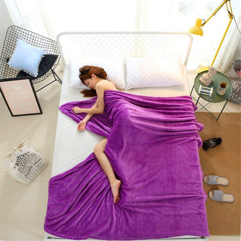 Thickened Coral Carpet, Long-Lasting Warmth, Widened Edging, Microfiber Purple 100150cm by iangbaoyo