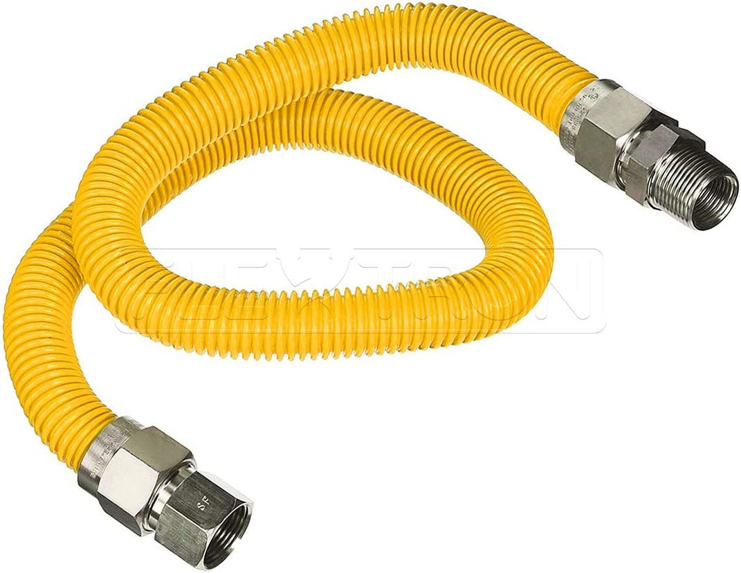 Excellent Corrosion Resistance Yellow//Stainless Steel Flextron FTGC-YC12-48B 48 Inch Flexible Epoxy Coated Gas Line Connector with 5//8 Inch Outer Diameter /& 1//2 Inch x 1//2 Inch FIP Fittings