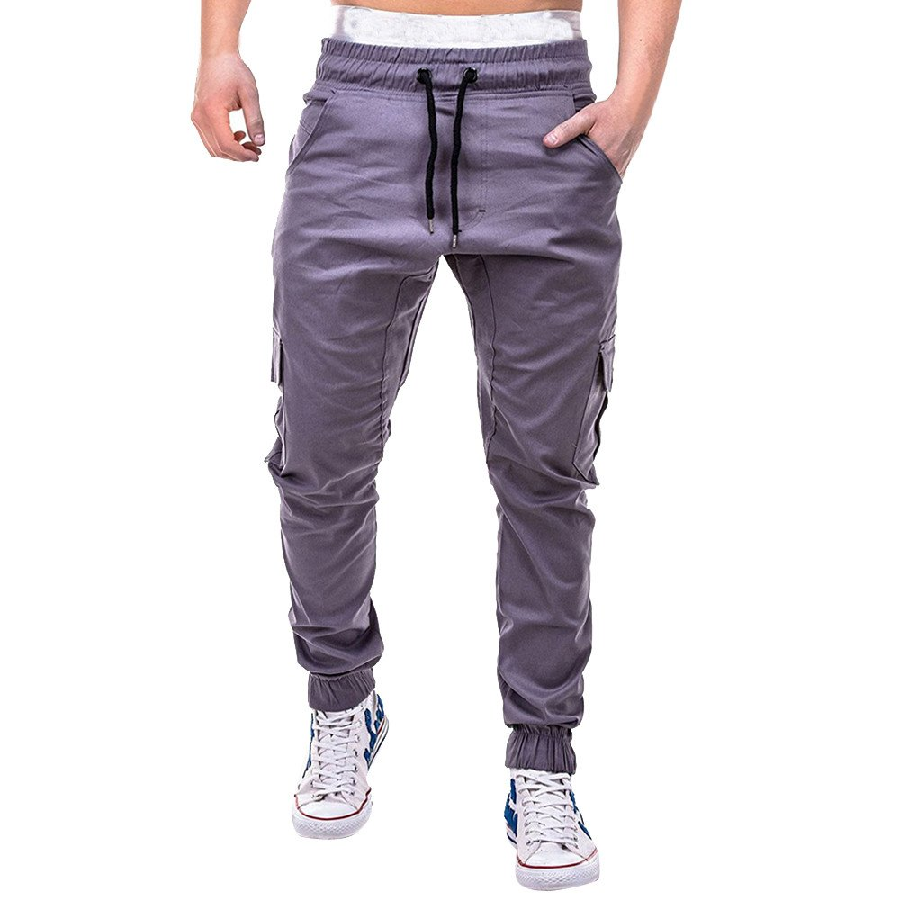 Hunzed Men【Solid Color Slim Casual Pants】 Fashion Men's Sport Bandage Casual Loose Sweatpants Drawstring Pant
