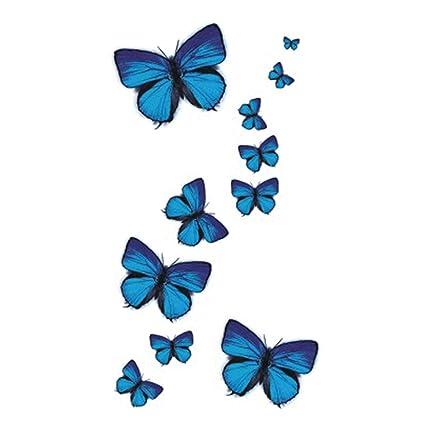 wyuen 5 hojas azul Mariposa Mujeres Cuerpo Tatuaje Adhesivo para ...