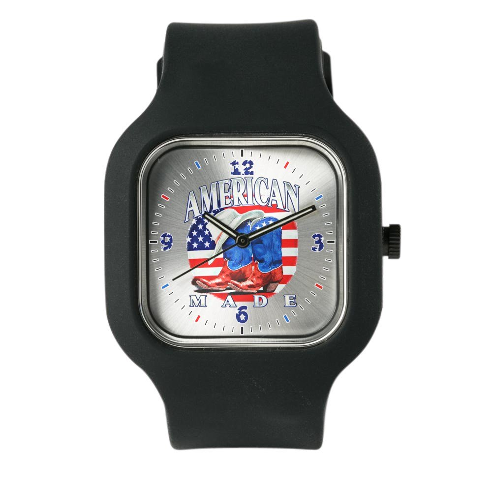 Black Fashion Sport Watch US American Flag Country Cowboy Boots