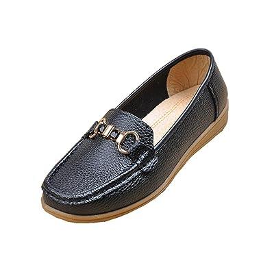 Femmes Flats Chaussures simples New Leisure Loafer Comfort Pompes artificielles PU Sans glissement Fond doux Noir Rouge Automne Printemps Fête Travail , Black , EUR 37/ UK 4.5-5