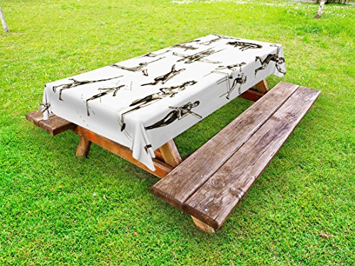 Marathon Pique - Ambesonne Olympics Outdoor Tablecloth, Athletes Illustration Summer Sports Championship Marathon Excitement Theme, Decorative Washable Picnic Table Cloth, 58 X 104 Inches, Olive Green White