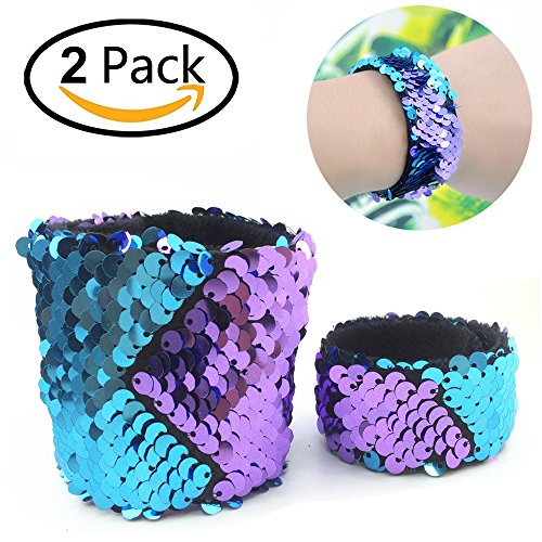 Time-killer Mermaid Bracelet for Birthday Party Favors, Two-Color Decorative Reversible Charm Sequins Slap Wristband Bracelet for Kids,Girls,Boys,Women (Purple-Blue, A(2 Pack))