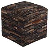 Ashley Furniture Signature Design - Cowhide Pouf - Seat or Footrest - New Traditions - Dark Brown