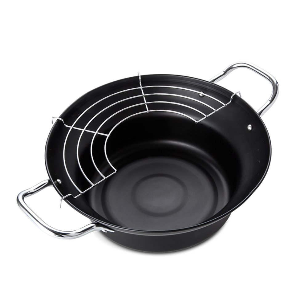 Tempura Fryer Pot, Mini Deep Fry Pan with Drainer Mini Deep frying pan with oil frying pan 9.5 IN