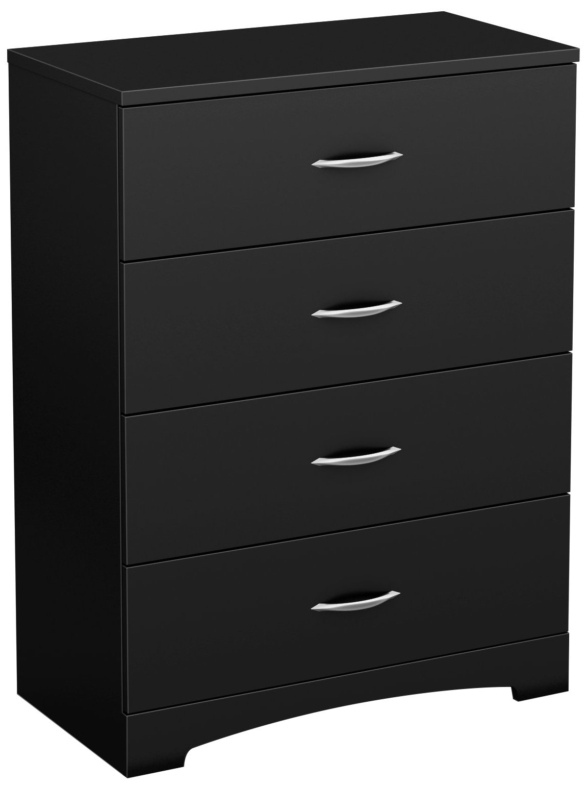 South Shore Step One 4-Drawer Dresser, Pure Black with Matte Nickel Handles