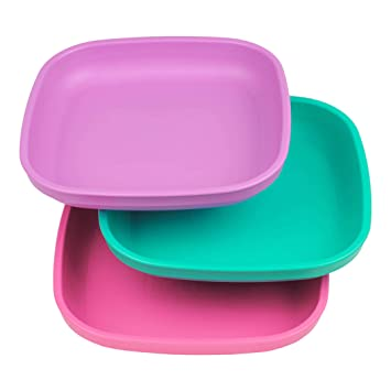 Child Feeding Purple Toddler Bright Pink Re-Play Made In USA 3pk Plates with Deep Sides for Easy Baby White Berry