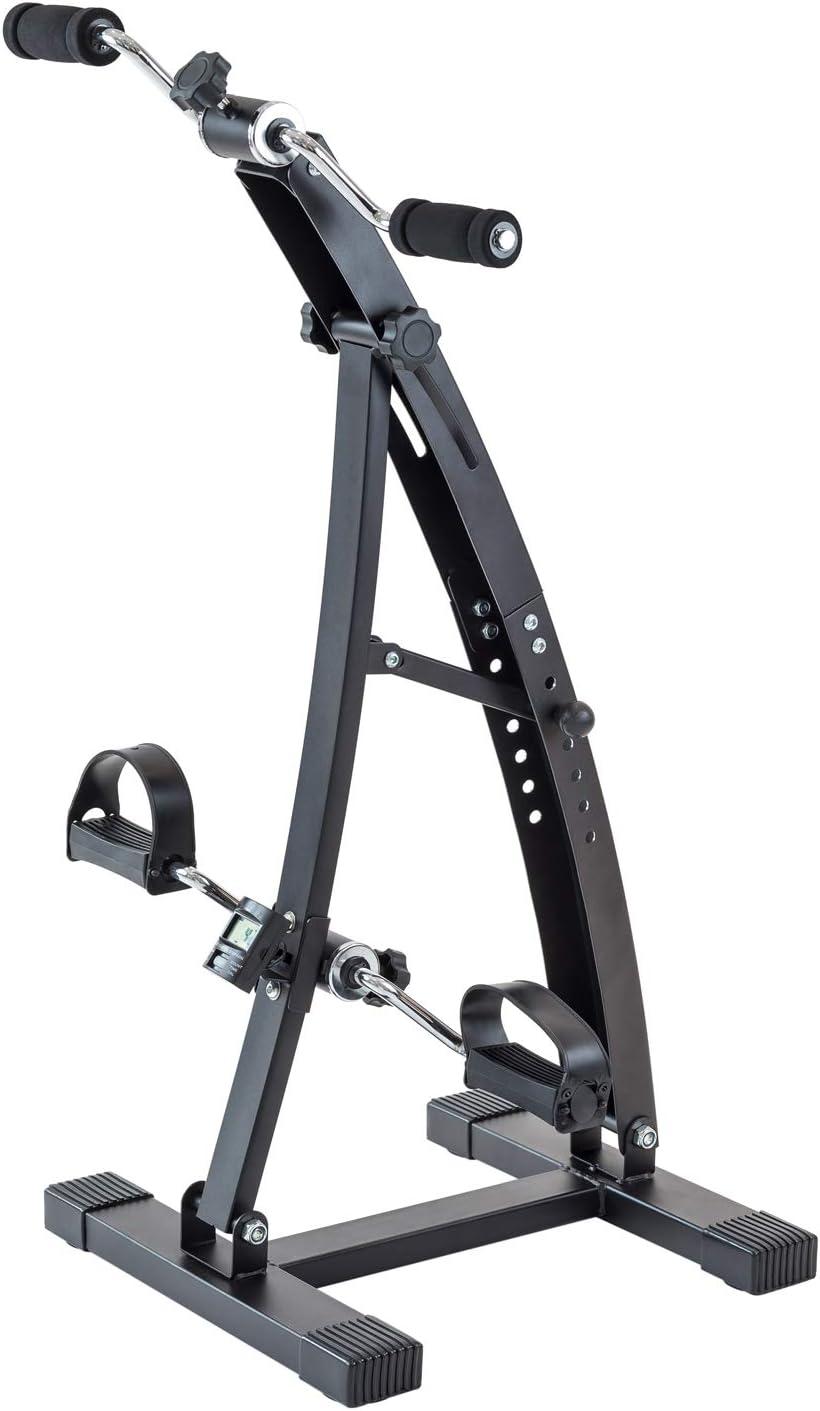 TechFit Mini Bicicleta de Recuperación con Doble Manivela Ajustable, Adecuada para Ejercitar Pies y Brazos, Monitor LCD Incorporado