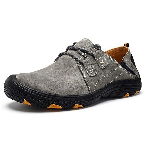 Confort Zapatos Casuales De Cuero para Hombres Mocasines Gamuza Invierno Zapatos Transpirable Entrenamiento Al Aire Libre Caminar Pisos: Amazon.es: Zapatos ...