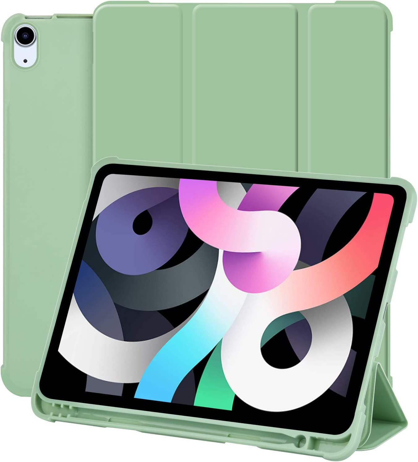 iPad Air 4th Generation Case 10.9 Inch 2020 iPad Air 4 Case with Pencil Holder [Support Touch ID & Apple Pencil Charging/Pair], Slim Trifold Stand Smart Cover Auto Wake/Sleep - Green