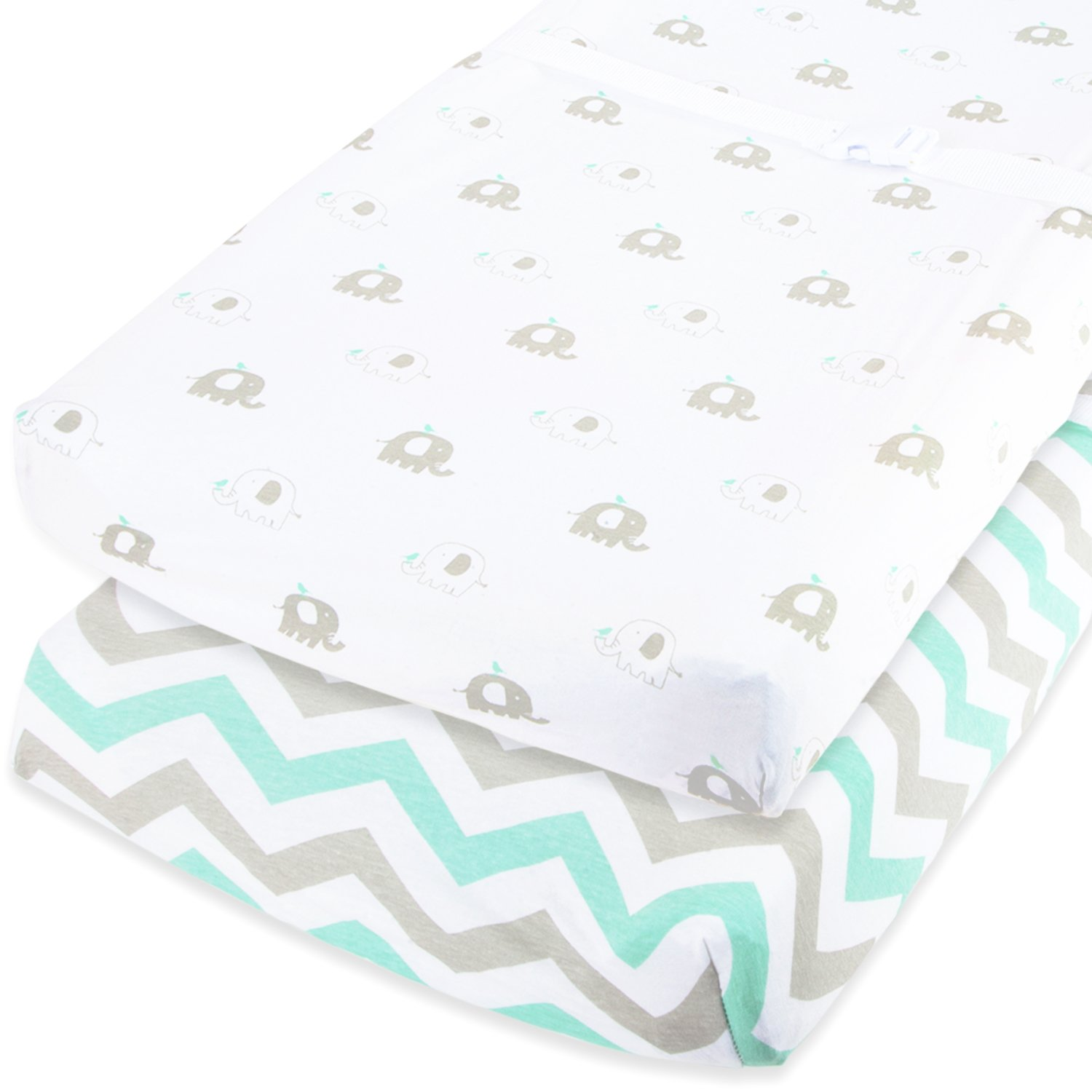 Bassinet Sheets Set 2 Pack for Boy & Girl by Cuddly Cubs | Soft & Breathable 100% Jersey Cotton | Fitted Elastic Design | Mint & Grey Chevron & Elephants | Fits Oval, Halo, Chicco Lullago, Arms Reach Orion Brands