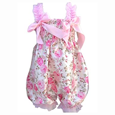 0751e0e3491 SODIAL(R) Newborn Infant Baby Girl Floral Ruffle Rompers Dress One-Piece  Tutu Lace Clothes Bust 32-56cm length 50cm.  Amazon.co.uk  Clothing