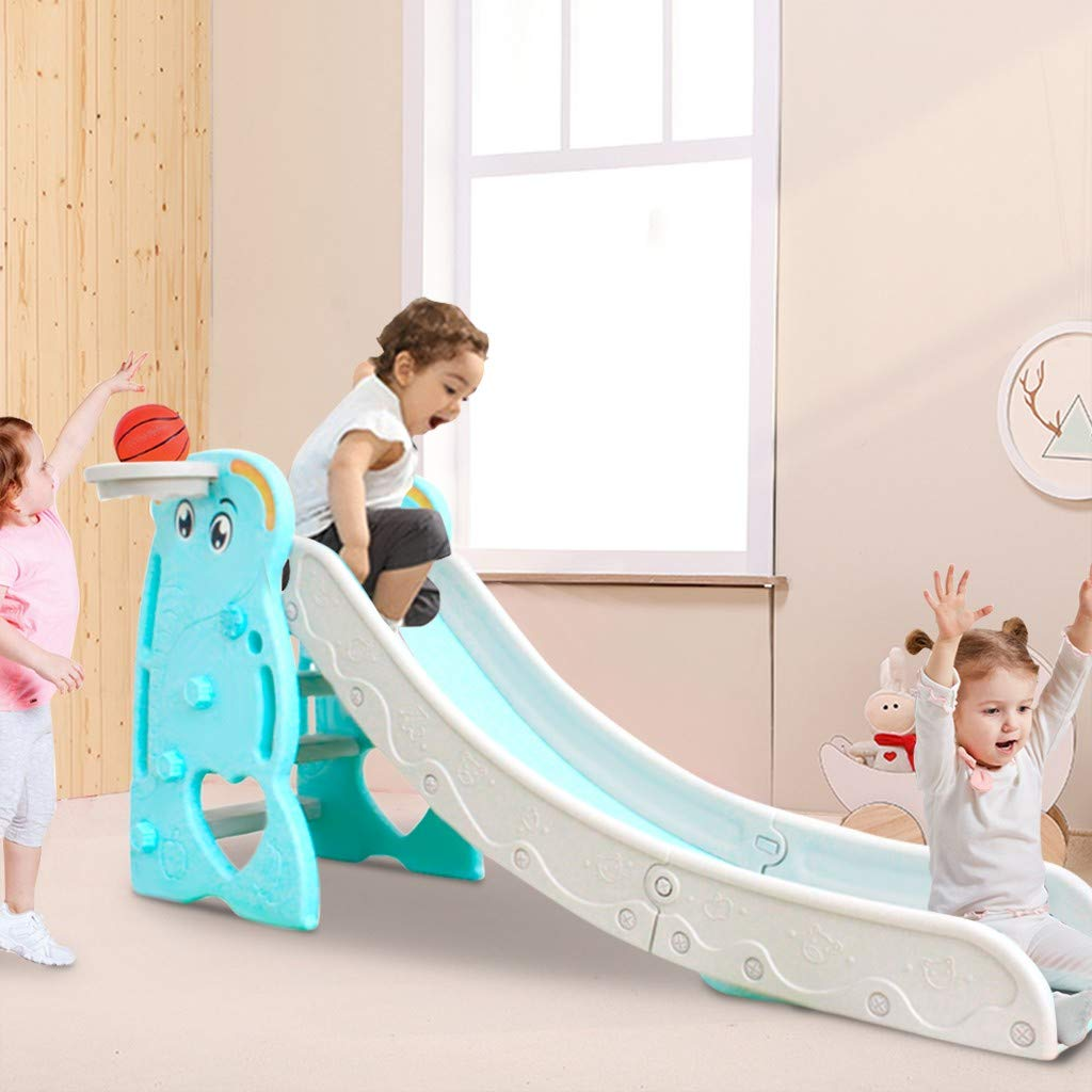 Sturdy Toddler Playground Slipping Slide Climber for Indoor Outdoors Use Children Toy Playset with Basketball Hoop for Outside Games Playground Equipment Set Kids Slide with Basketball Frame