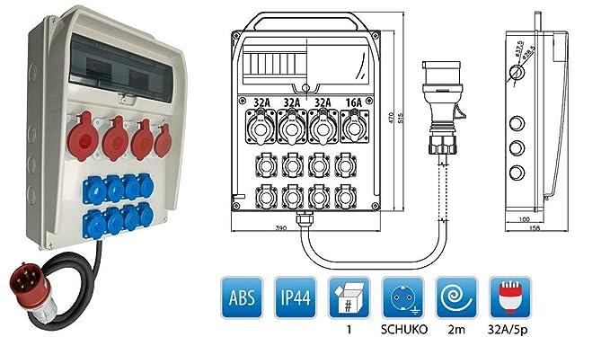 Baustromverteiler 230V//16A Schuko LS wahlweise FI CEE32A//400V CEE16A//400V