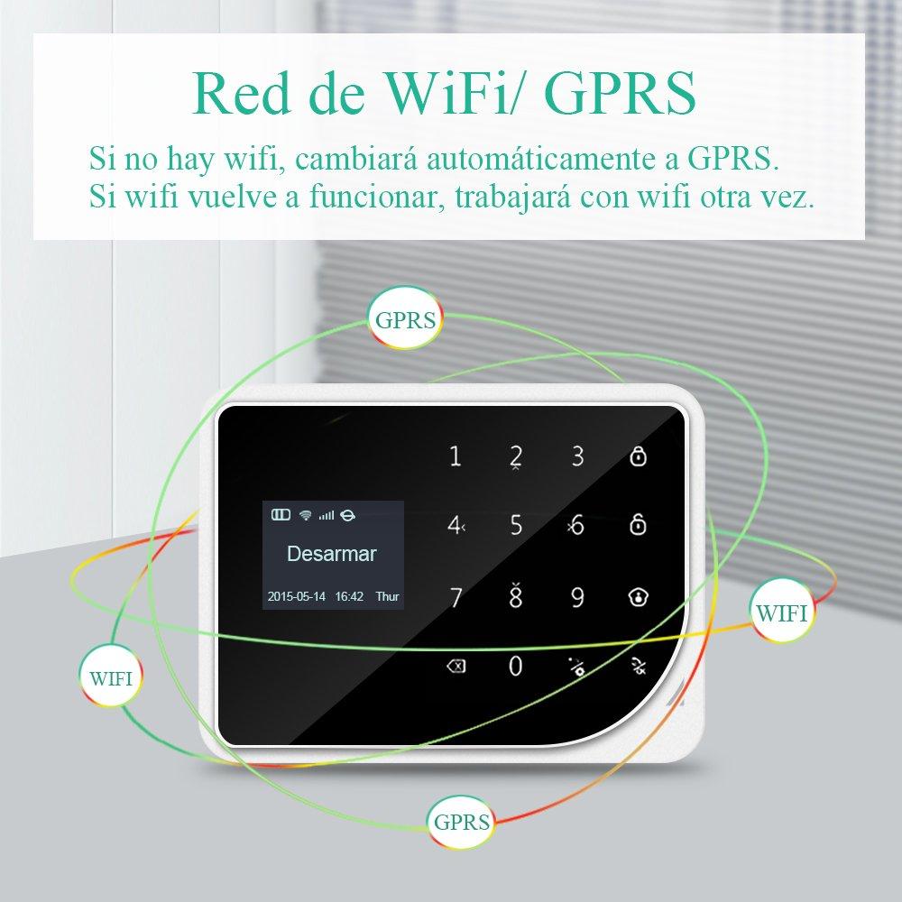 ERAY S1 Alarmas para Casa WiFi + gsm/ 2G, Antirrobo, Inalámbrico, App y LCD Pantalla en Castellano, Servicio + Garantía, 96 Zonas, Accesorios y Pilas Incluidas, 433MHz