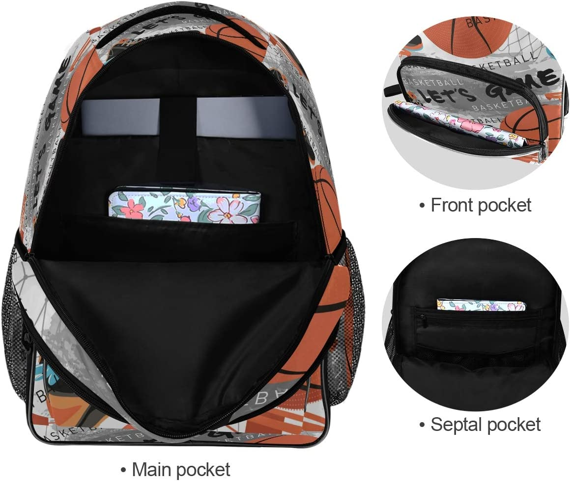 Laptop Backpacks for Women Men Basketball Sports Creative Grunge Design Large Work Wackpack Fit 17 Inch Computer Bookbag for School Business Travel Yoga