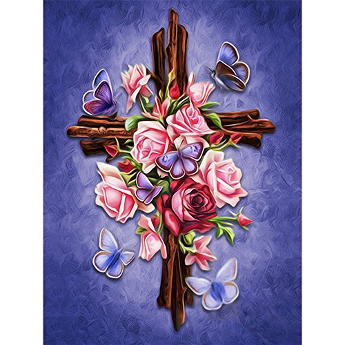 Love the Cross Diamond Painting - PigBoss 5D DIY Religion Diamond Embroidery Diamond Painting Cross Stitch Kits Love the Cross Mosaic Pattern Christmas gift for Adults (11.8 x 15.7 inch) ()