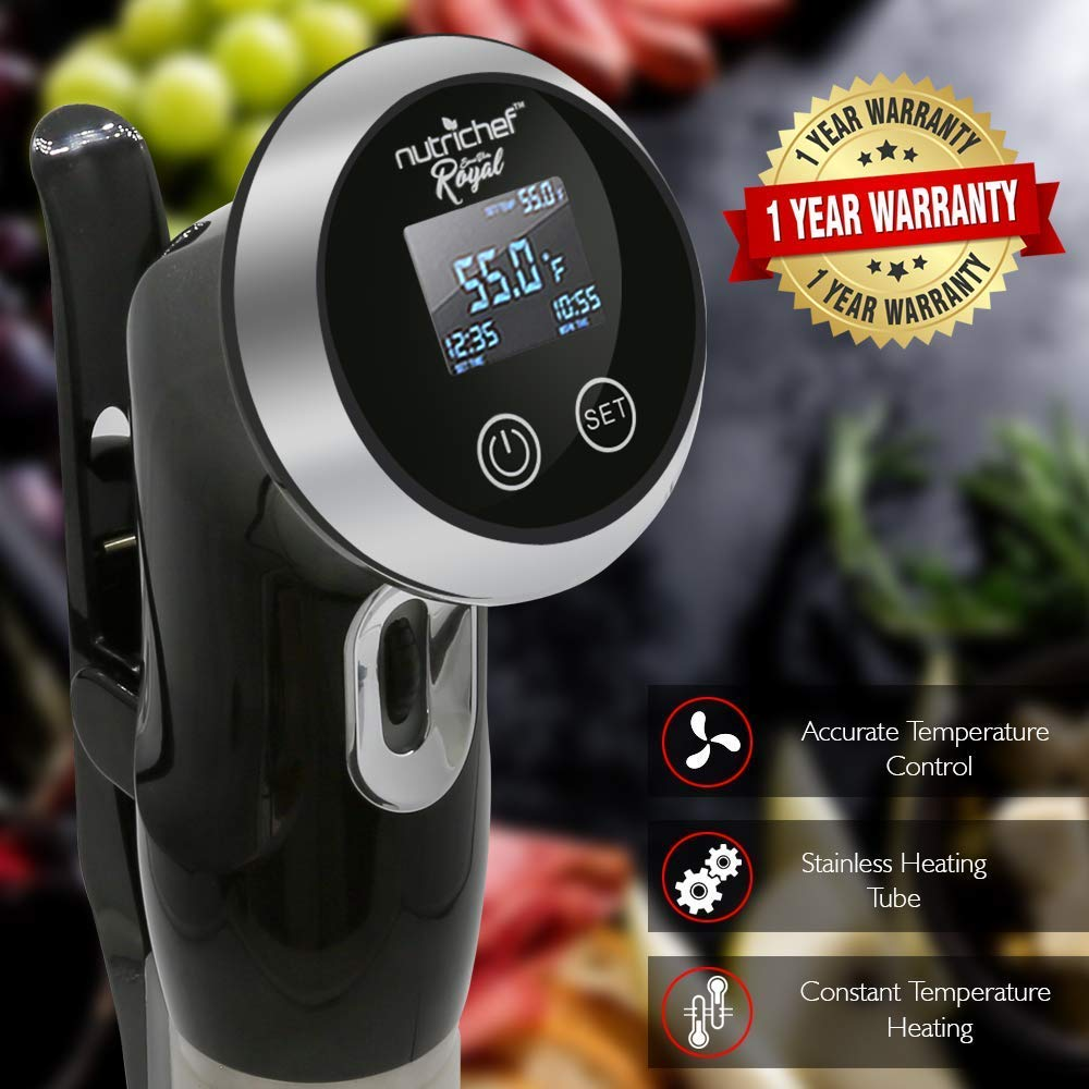 Sous Vide Immersion Circulator Cooker - 1000 Watt Stainless Steel Thermal Cooking Machine  Digital Time / Temperature - Clips On Deep Container - NutriChef by Nutrichef (Image #6)
