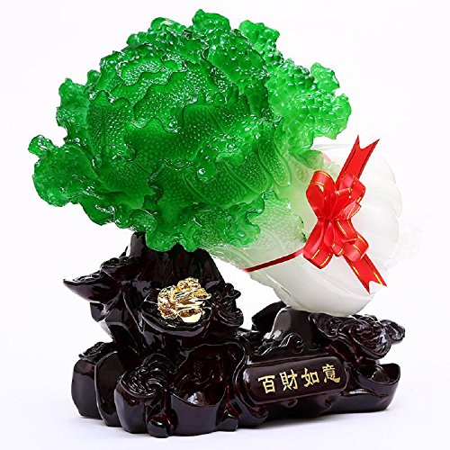 RUIHAI Feng Shui Bai Choi Pok Choi Cabbage Statue Charm Gifts for Wealth Luck Office Living Room (type1)