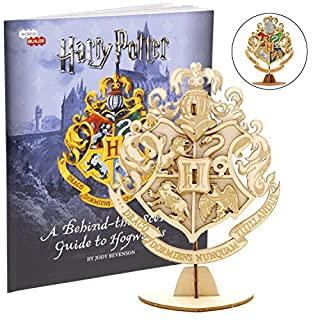 """Harry Potter Hogwarts Crest Book and 3D Wood Model Figure Kit - Build, Paint and Collect Your Own Wooden Toy Model - Great for Kids and Adults, 8+ - 4"""" x 3"""""""