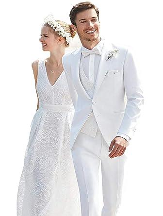 Amazon.com: WZW - Traje de boda para hombre de color blanco ...