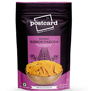 Postcard Madurai Ribbon Pakoda   Specialty Indian Snack from Tamil Nadu (India)   Crunchy Buttery Garlicky Sattur Seeval   Spicy Thin Chips   Long Chakli 12 Oz/340 gms