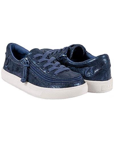 Navy Metallic 13 M US Little Kid M Toddler//Little Kid//Big Kid BILLY Footwear Kids Baby Girls Classic Lace Low