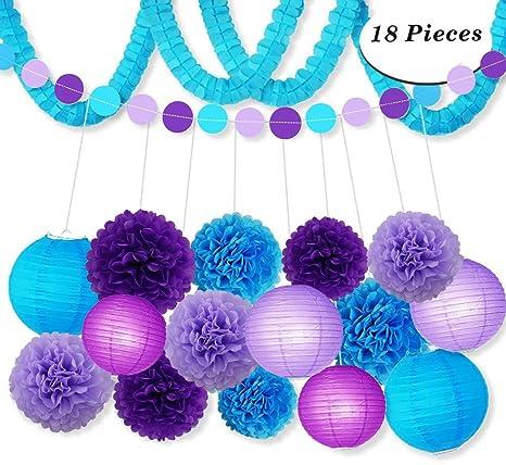 Kit de decoración para fiestas, color morado Color Azul ...