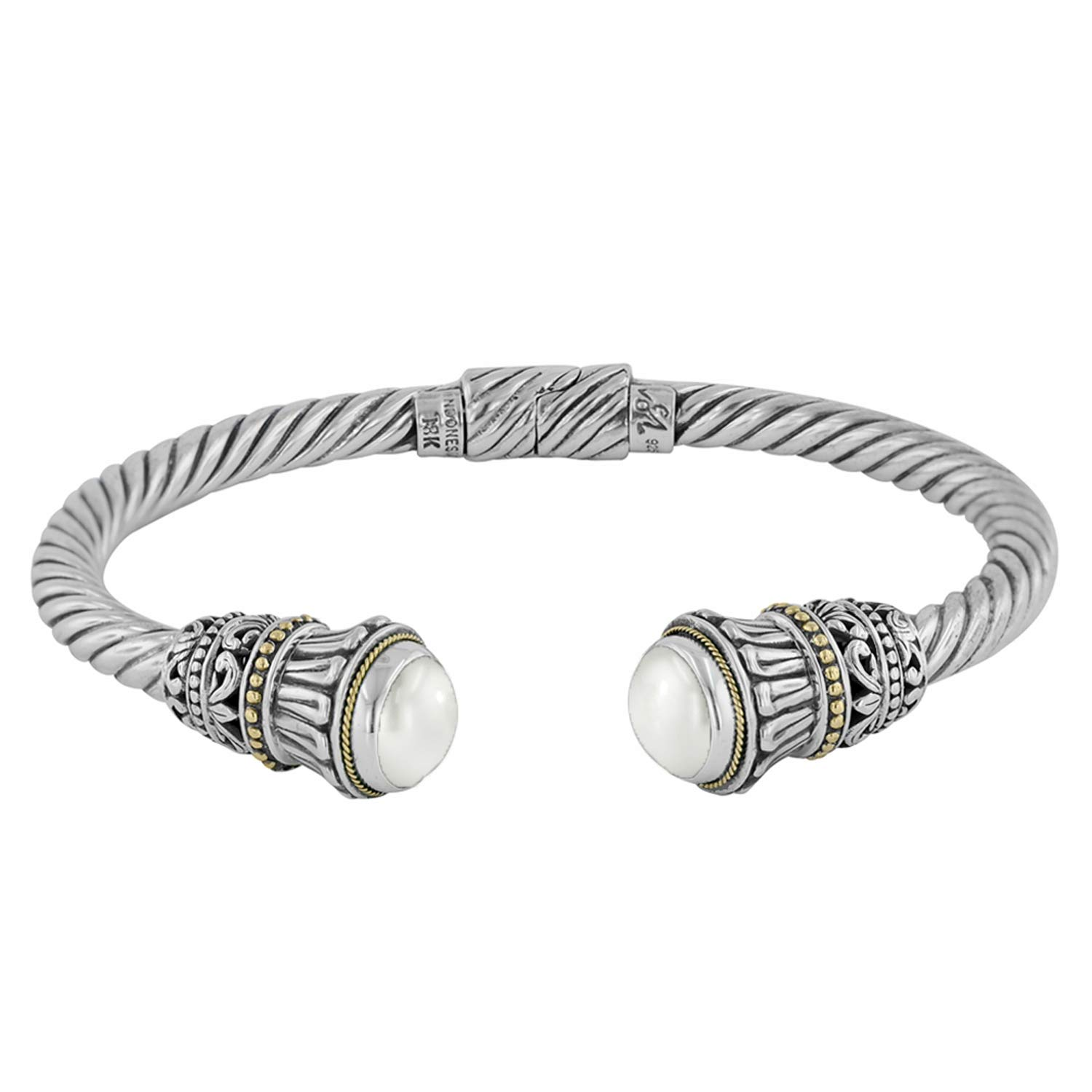 Robert Manse Designs Bali RoManse Sterling Silver and 18K Gold Hinged Cable Cuff (7.25)