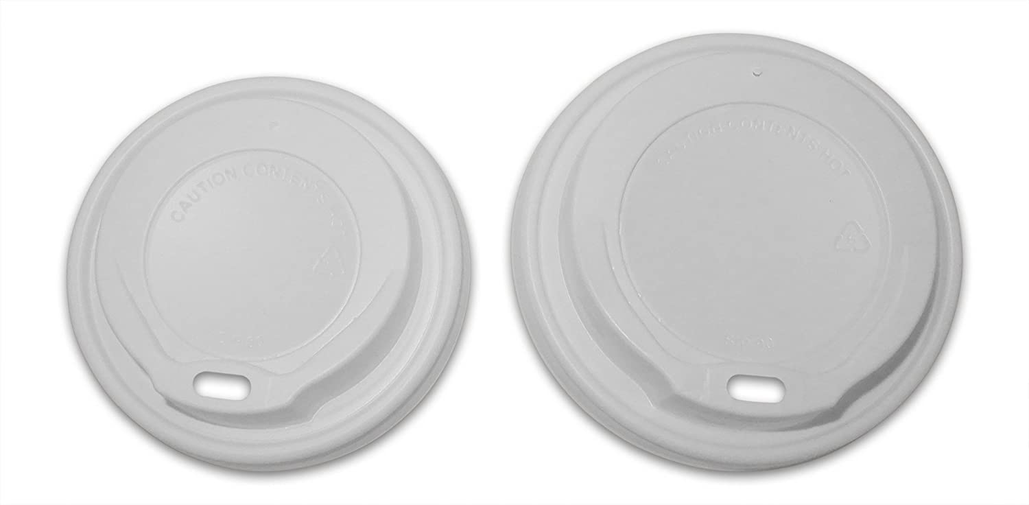 Disposable White Coffee Cup Sip Lids To Fit 8oz or 12oz-16oz Paper Coffee Cups Sleeve of 100 Small To Fit 8oz Cups Disposable Sip Lids