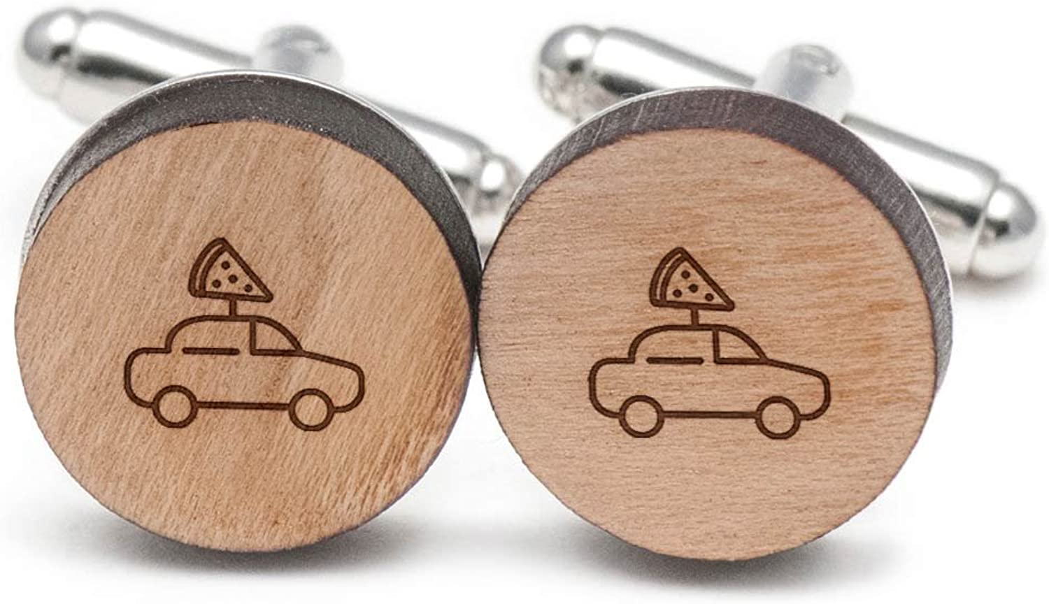 Wooden Accessories Company Wooden Tie Clips with Laser Engraved Delivery Vehicle Design Cherry Wood Tie Bar Engraved in The USA