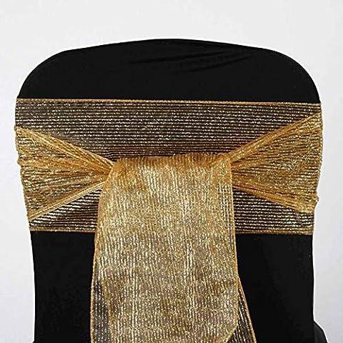 Tableclothsfactory 5pc x Razzle-Dazzle Glitter Pinstripe Organza Chair Sash - Gold (Razzle Dazzle Glitter)