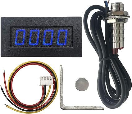 DIGITEN 4 Digital LED Tachometer RPM Speed Meter+Hall Proximity Switch Sensor NPN Red