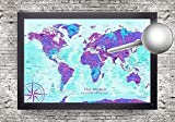 Watercolor World Map - Use as a Wall Map or Push Pin Map - Framed