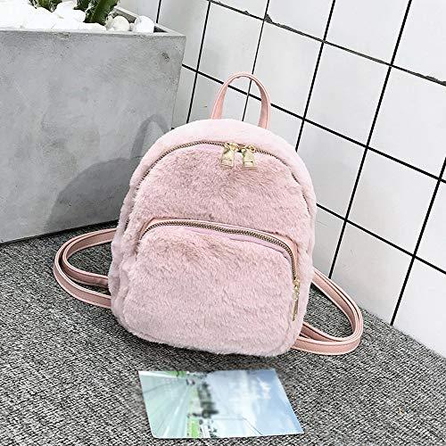 Elegante Pelle Viaggi Rosa Scuola Vera Tracolla Colore Moda Solido Studente Donne Zaino Casual Crossbody Bag Ragazza Amuster Peluche q5OtwU