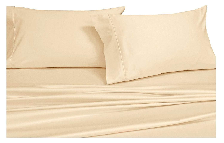Split-King: Adjustable King Bed Sheets 5PC Solid Ivory 100% Cotton 600-Thread-Count, Deep Pocket