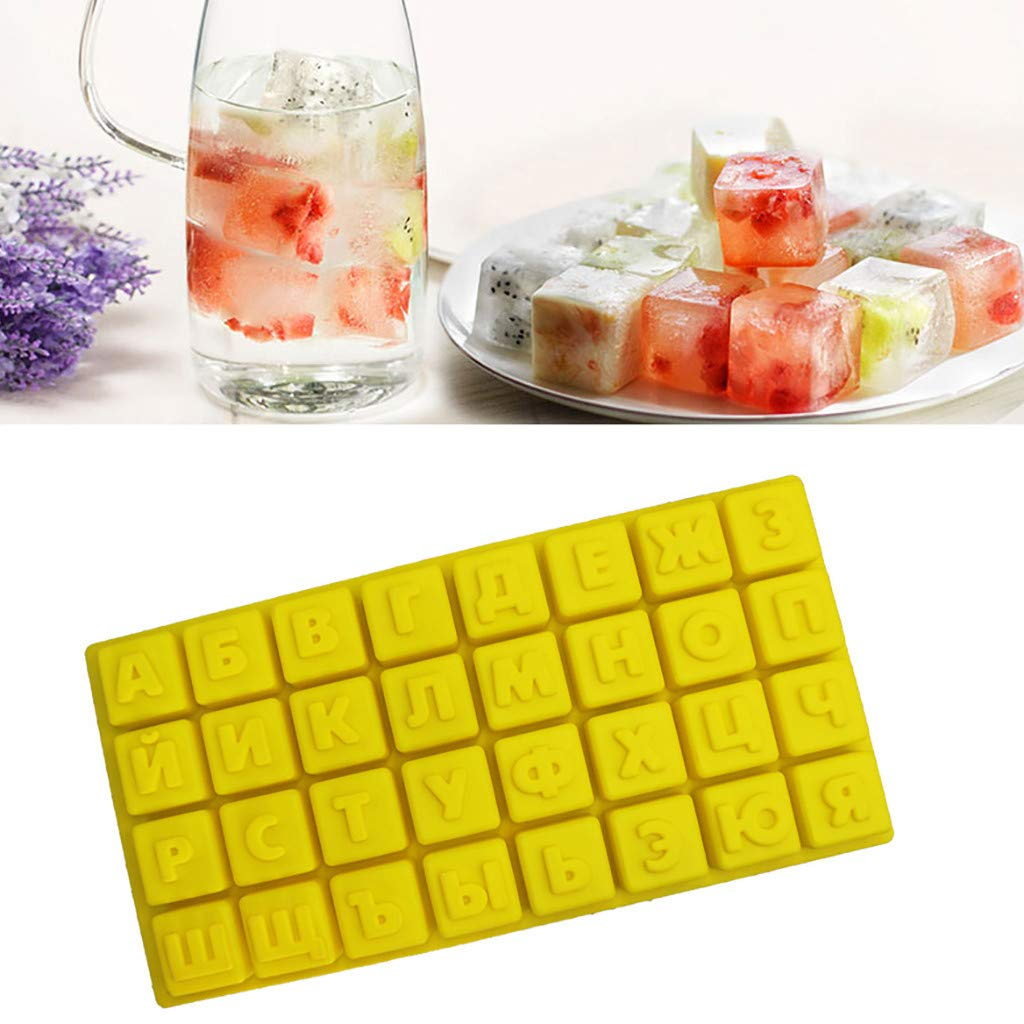 Onefa Ice Cube Trays with Lid - Hot Silicone Freeze Mold Bar Pudding Jelly Chocolate Maker Mold 32 Ice Cube (Yellow)
