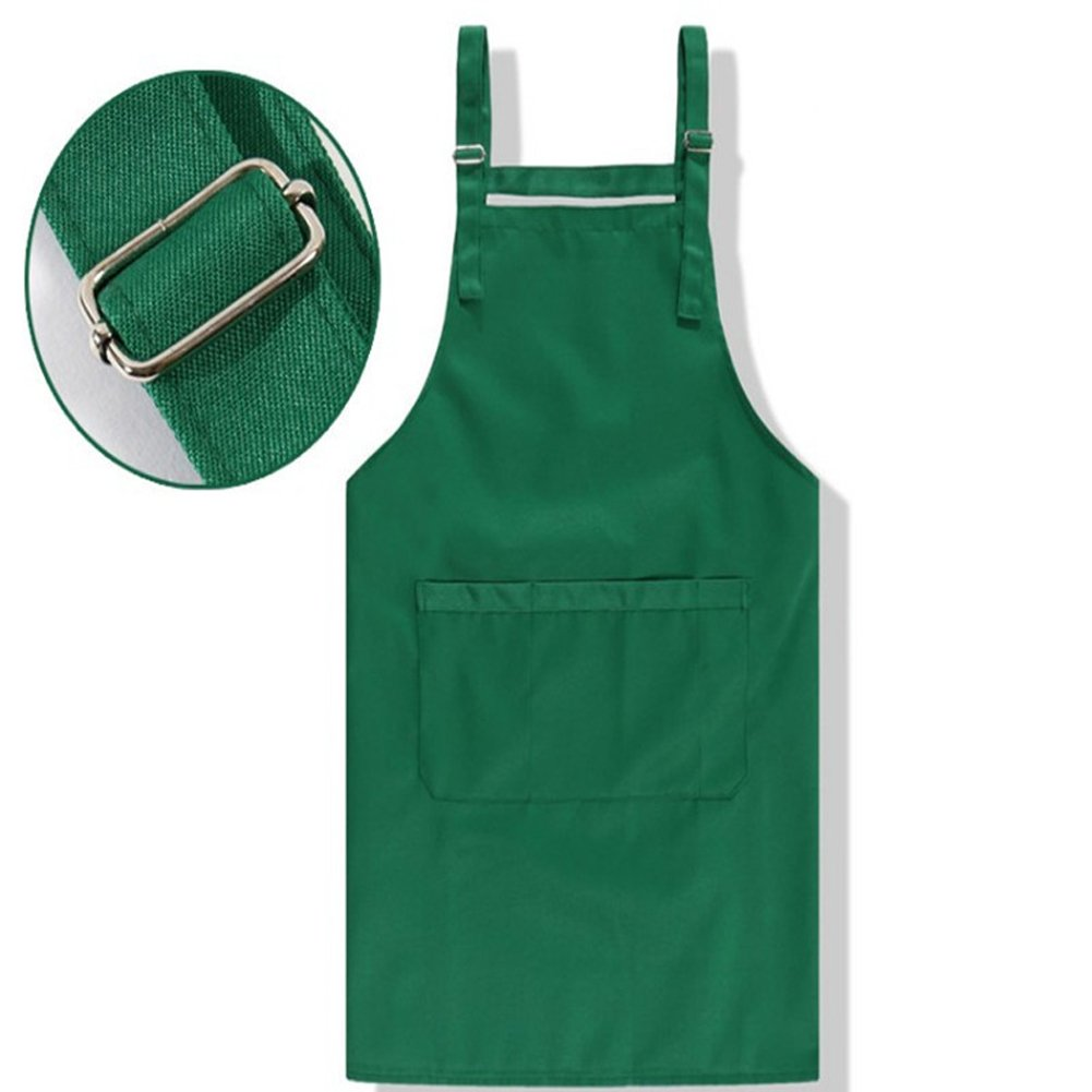 Bib Apron Adjustable Water-Resistance with Pockets, Waist Ties for Unisex Adults in Plain Assorted Colors GUANGMEI