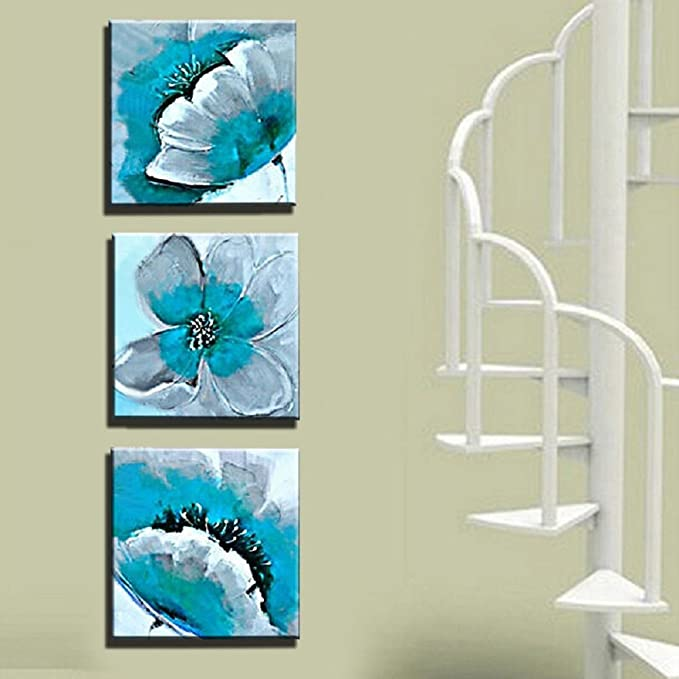 Wonzom 3/pcs//lot Fleur Impressions sur toile D/écoration murale Bleu sarcelle Floral moderne D/écoration murale photos pour Home D/écoration murale pr/êt /à accrocher 30,5/x 30,5/cm