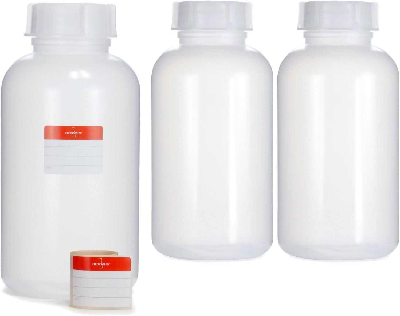 3 x 2000 ml frascos botellas de LDPE con rosca de, química kalien Botella, laboratorio con tapa como recipiente de almacenamiento para laboratorio, cocina o Hobby, transparente