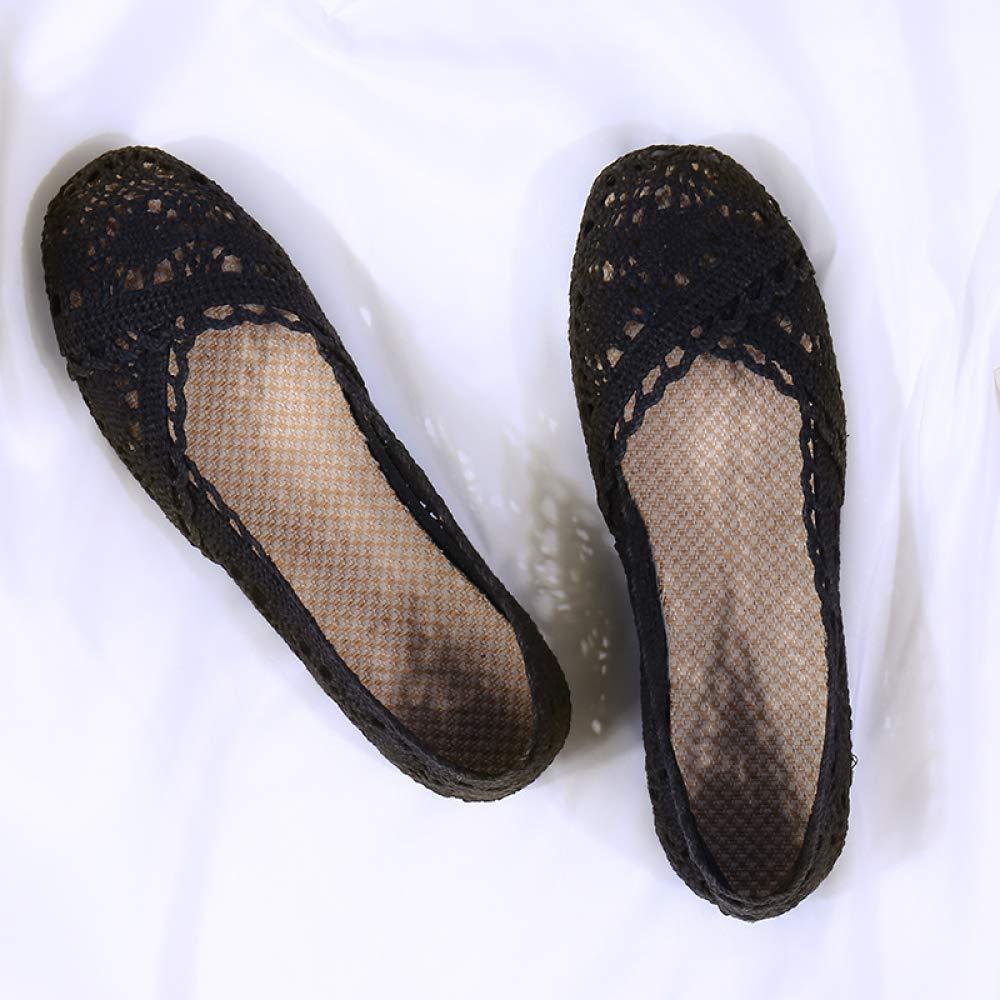WFL Le scarpe dei piselli le scarpe femminili della nonna del fondo piatto dell'estate molli le scarpe singole di pizzo di lino del fondo,Nero,41 Nero