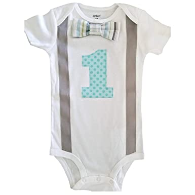 bd792b770 Amazon.com  Perfect Pairz Baby Boys 1st Birthday Outfit - Gray Aqua ...