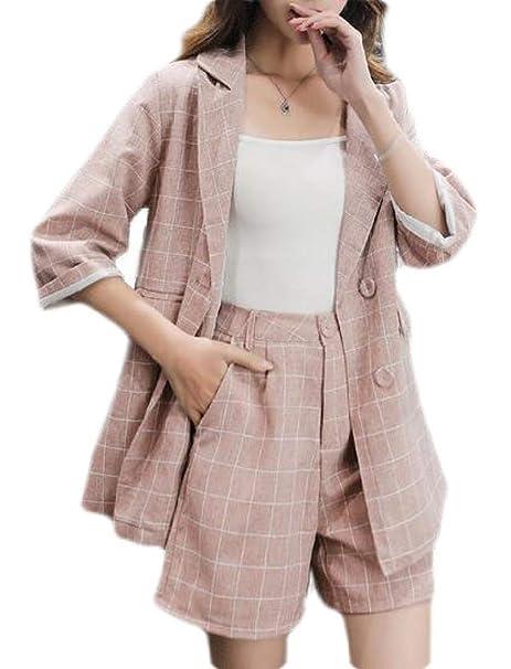 Amazon.com: pipigo Blazer pantalones cortos de lino a ...