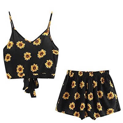 Xinantime Womens Casual Sunflower Printed Sleeveless Crop Camisole Tops Blouse+Cord Shorts Outfit Set Sports Suit: Clothing