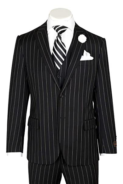 1940s Men's Suit History and Styling Tips Tiglio Luxe Tufo Modern Fit Black Pin-Stripe Pure Wool Suit & Vest TIG1052 $399.00 AT vintagedancer.com