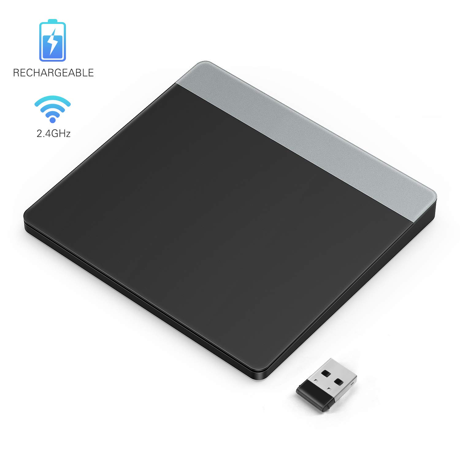 Wireless Precision Trackpad, Jelly Comb 2.4GHz Rechargeable Touchpad with Nano Receiver for Windows 7 and Windows 10 Computer, Notebook, PC, Laptop -Black by Jelly Comb