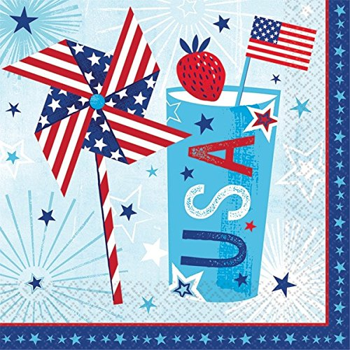 Patriotic Party Supplies for 18 Guests: Plates, Napkins and USA Flag Picks by Life on the Lane (Image #4)